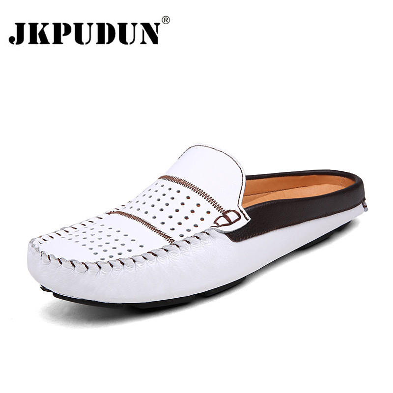 JKPUDUN Summer Men Casual Shoes Moccasins 2018 Italian Breathable Slip on Boat Shoes Men Leather Mens Penny Loafers Luxury Brand summer breathable moccasins mens driving shoes italian luxury brand men loafers 2017 genuine leather casual shoes big size to 46