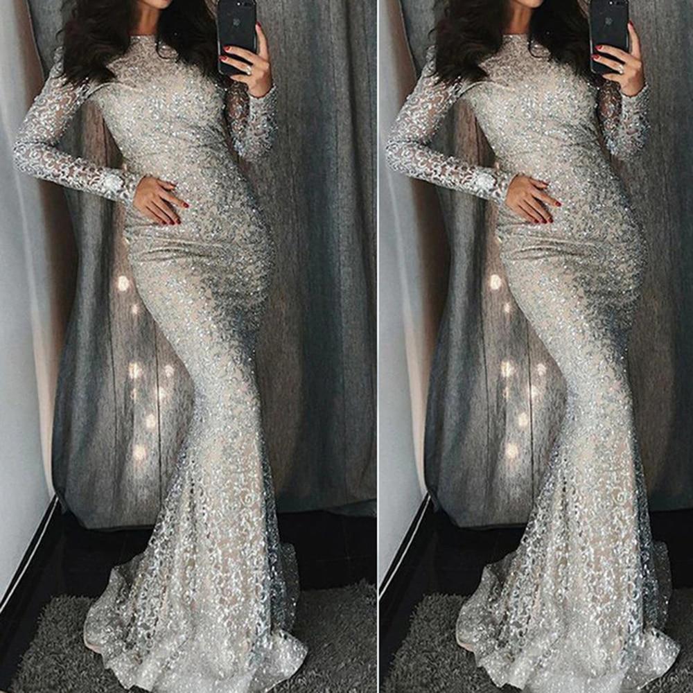 0dbd28ab Turtleneck Sequin Maxi Dress Women Hollow Long Sleeve Sexy Bodycorn Evening  Long Party Dress Silver Spring