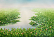 Hand Painted Oil Painting on Canvas Textured Thick Knife Abstract Painting Lotus Pond Landscape   Wall  Picture for  Living Room