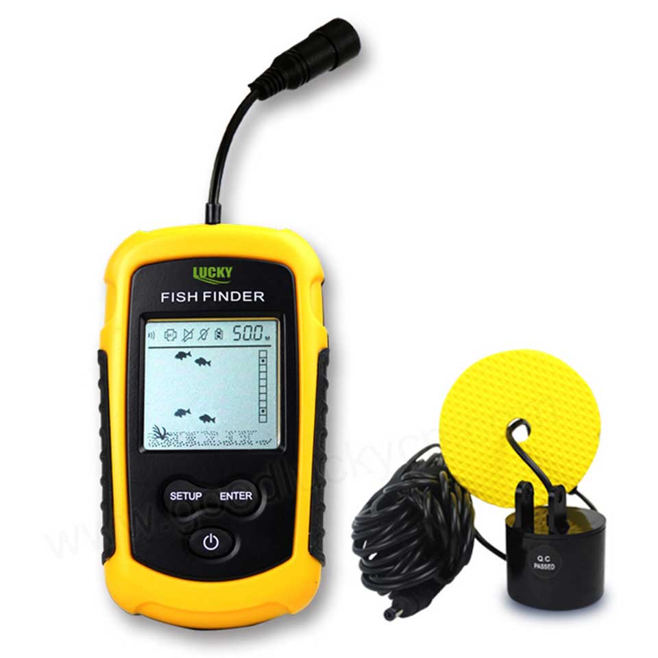Tragbare fish finder tiefe sonar Sounder Alarm Transducer Fishfinder 0,7-100 m angeln echolot mit Englisch Display
