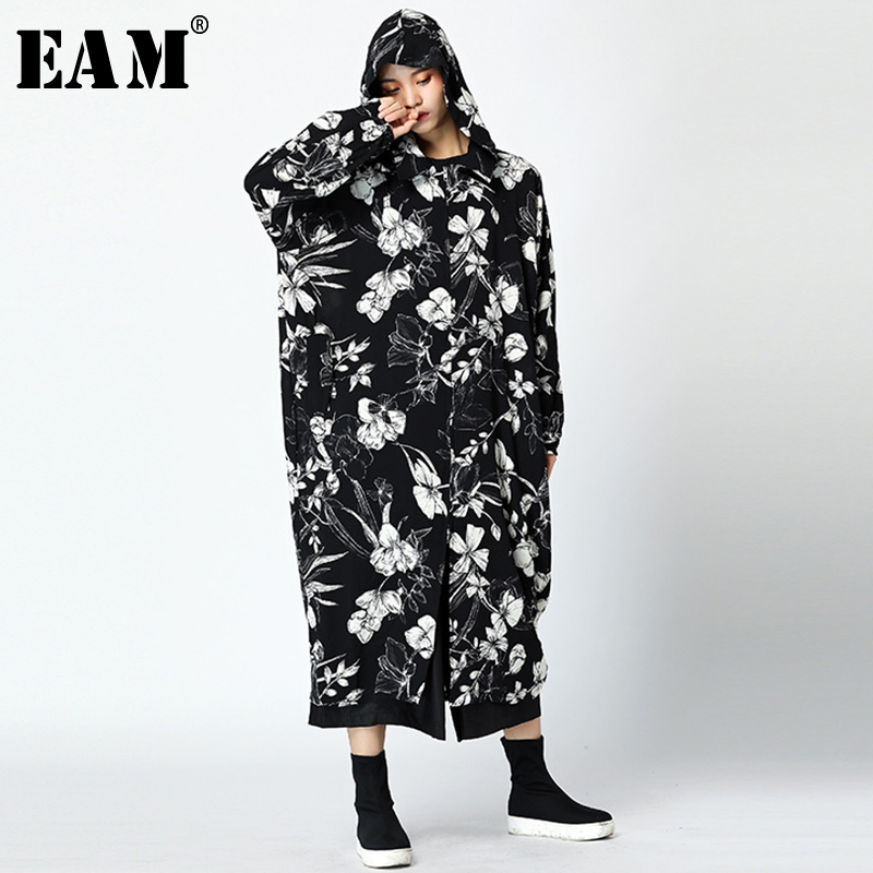 [EAM] Women Hooded Flower Print   Trench   New Long Sleeve Black Big Size Loose Fit Windbreaker Fashion Autumn Winter 2019 JY732