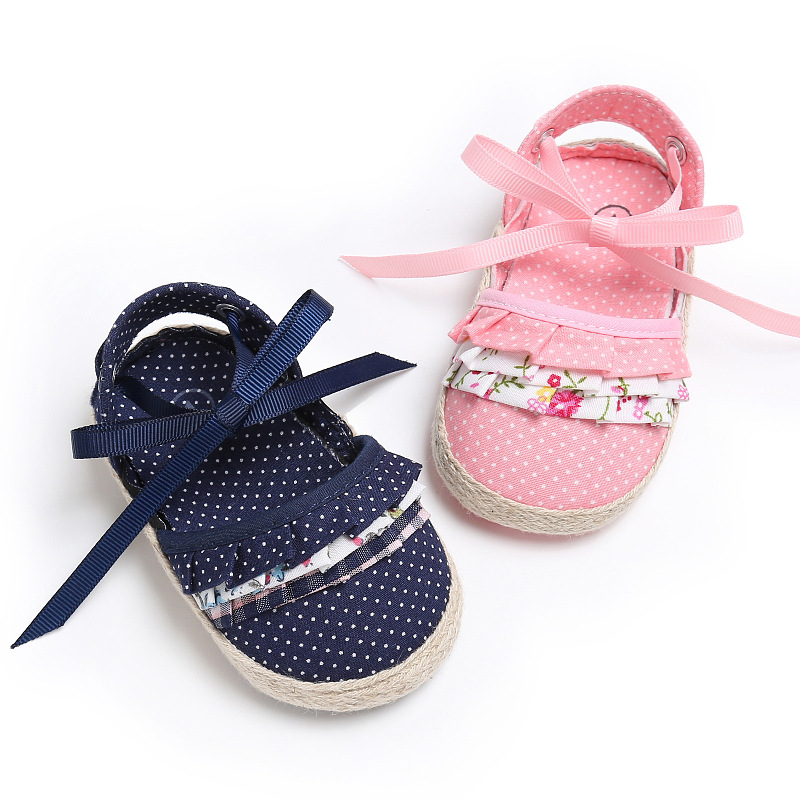 2018 lace up cotton fabric Baby moccasins Summer cute soft sole child girls sandals  baby sandals princess shoes 0 18months-in Sandals from Mother   Kids on ...