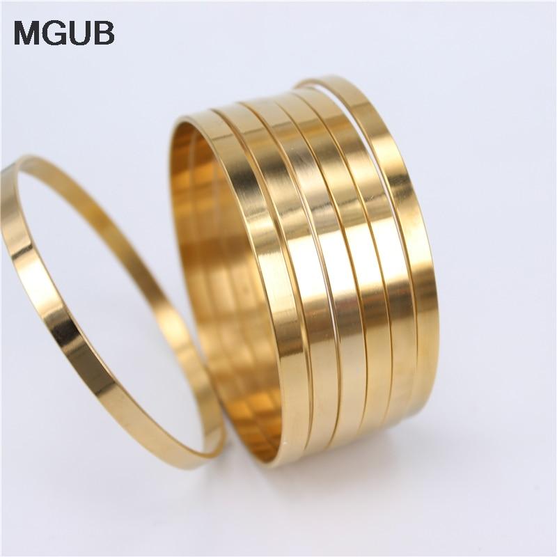 MGUB Diameter 70mm 5mm wide 7pcs bracelet Stainless steel men and women bright Suitable for wear Original Image LH511