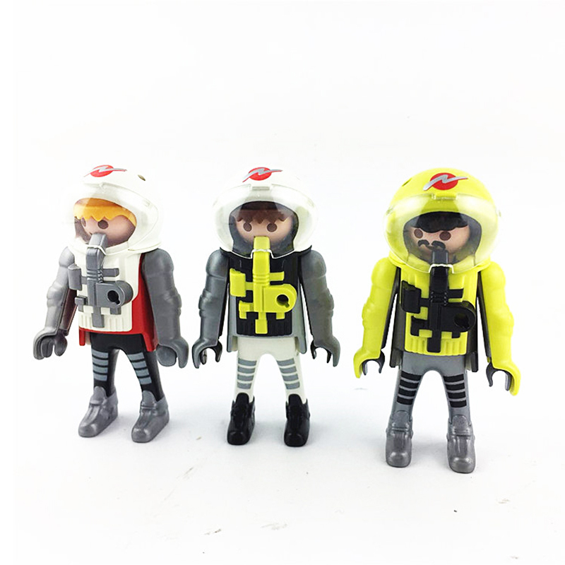 New 2017 Playmobil Germany Toys DIY 3pcs Astronauts Figures Childrens Toys Kids Birthday Gifts Collection