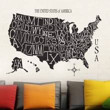 New arrival free shipping WALLPAPER USA Map Sticker Decal Muurstickers Posters Vinyl Wall Decals Decor Mural USA Map Sticker цена