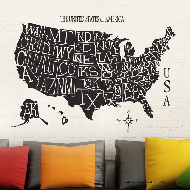 New arrival free shipping wallpaper usa map sticker decal muurstickers posters vinyl wall decals decor mural