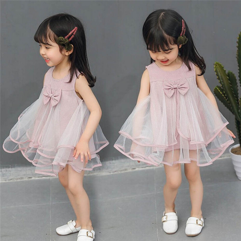 Mother & Kids Cute Toddler Baby Girls Sleeveless Lace Ruffles Denim Sundress Outfits Clothes Dress Lovely Girls Vetement Enfant Fille 40ja08 Girls' Clothing