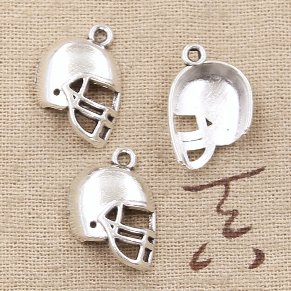 20pcs Charms soccor football helmet 20*15mm Antique Silver Plated Pendants Making DIY Handmade Tibetan Silver Jewelry