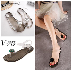 Image 1 - Ms. Summer Transparent  Sandals Rhinestone Flowers sandal Flat with Flip Crystal women slipper Beach Shoes Womens Shoes Simple