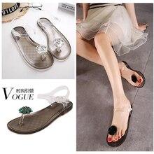 Ms. sandálias transparentes de verão, com strass, flores, sandália plana com cristal, chinelos femininos, sapatos de praia simples