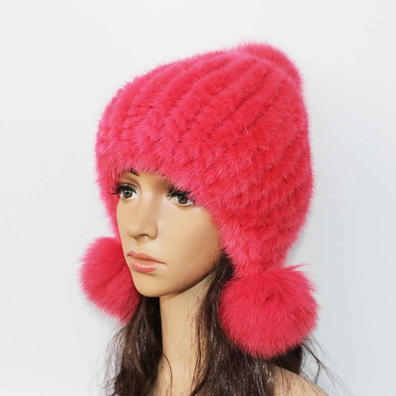 28001a120ef61 ... Fashion Women Real mink hat Winter warm mink fur knit hats Women fox fur  ball cap ...