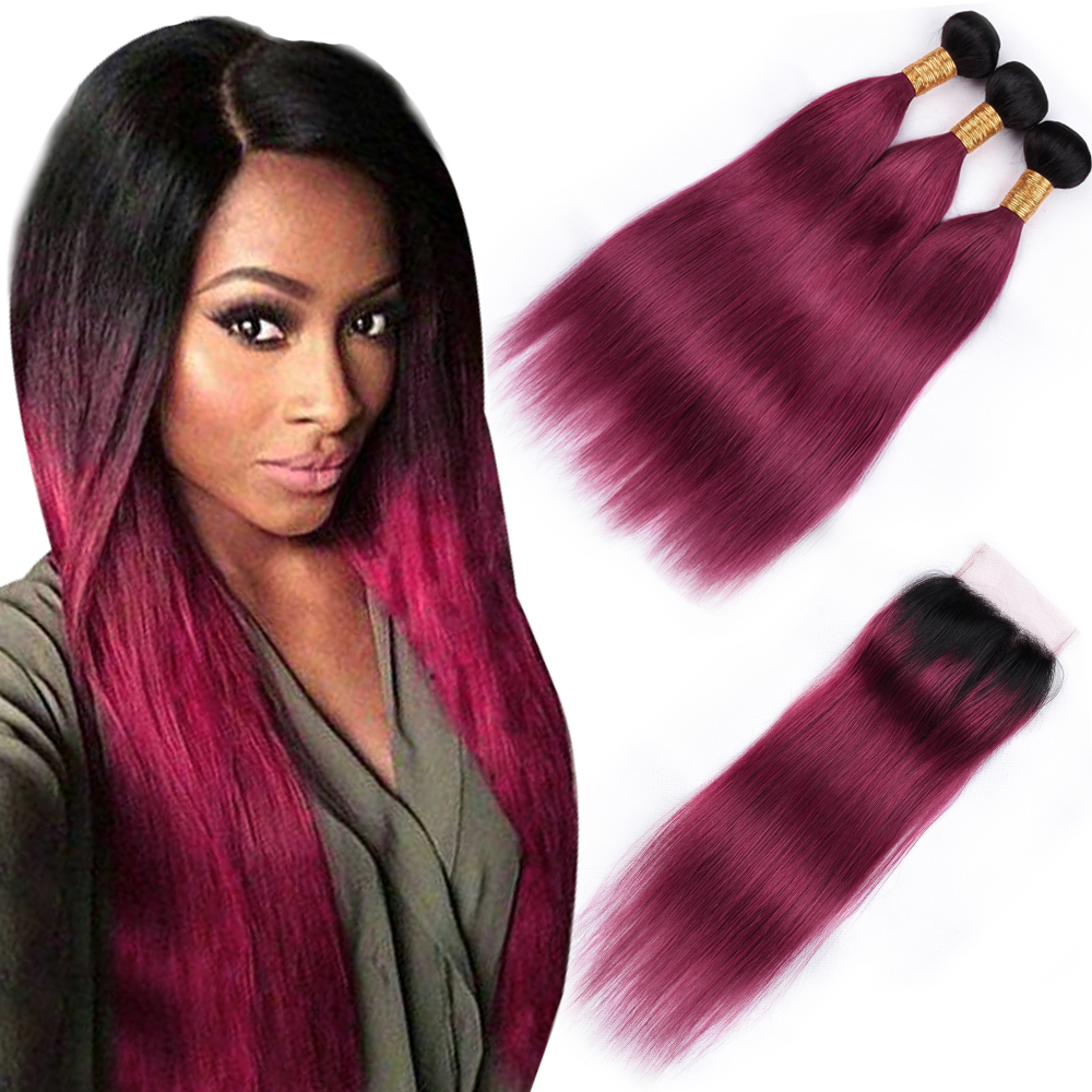BEAU DIVA Brazilian Straight Hair Human Hair Bundles with Closure 3 Bundles With Closure Non Remy Hair Extension TB/99J Color