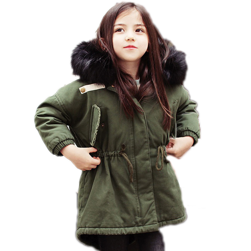 children winter jackets for girls 2018 winter coat for girl medium long big fur collar girl wadded jackets plus velet girl parka steel d big girl