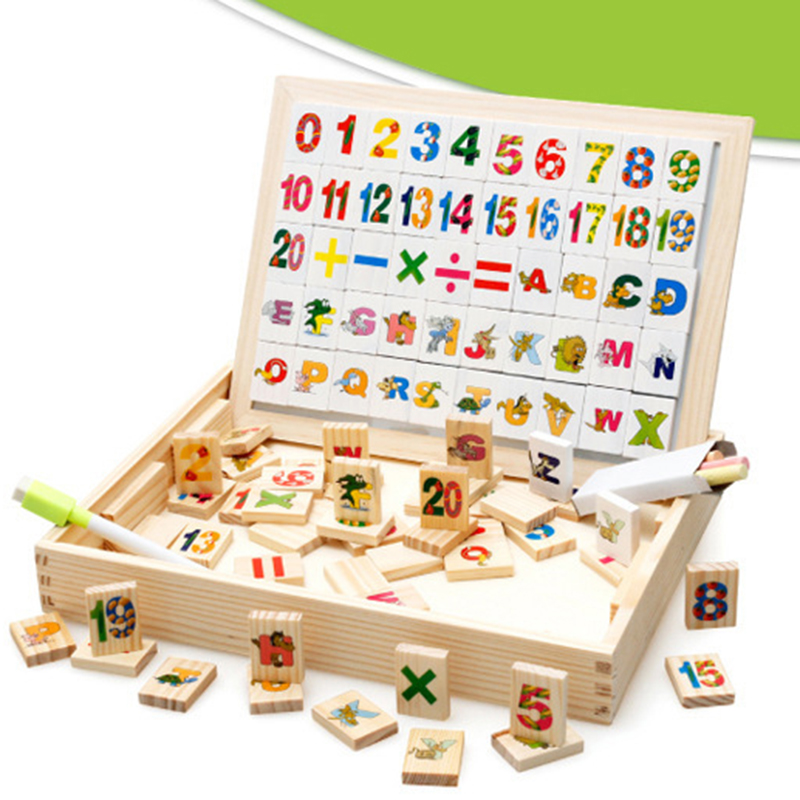 Multifunctional Learning Box Double Magnetic Blackboard Montessori Wooden Toys Educational Baby Alphabet Arithmetic Domino Toy