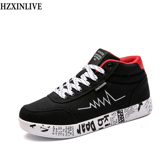 64aa0e579c7c1f HZXINLIVE 2018 Fashion Women Vulcanized Shoes Sneakers Ladies Lace-up  Casual Shoes Winter Walking Canvas Graffiti Plush Shoes