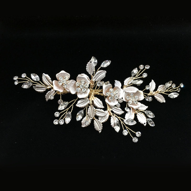 SLBRIDAL Handmade Golden Austrian Crystals Rhinestones Flower Leaf Wedding Hair Clip Barrettes Bridal Headpiece Hair accessories 1