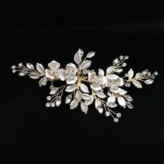 SLBRIDAL Handmade Golden Austrian Crystals Rhinestones Flower Leaf Wedding Hair Clip Barrettes Bridal Headpiece Hair accessories