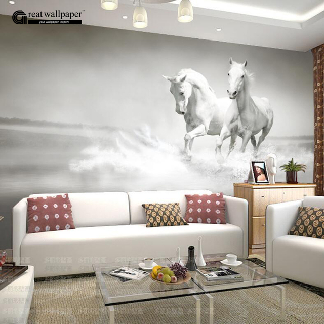Custom any size 3D wall mural wallpaper white horse wall murals
