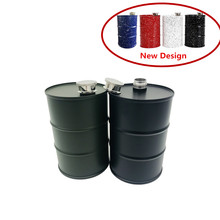 New Style Hot Sale 25oz/730ml Large Capacity Stainless steel Drums Oil Hip Flask Bucket Moscow Vodka Flagon Whisky Bottle Funnel
