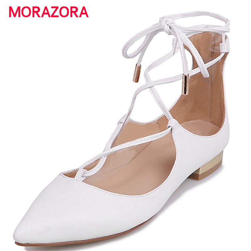 MORAZORA Med heels shoes woman sexy fashion summer shoes genuine leather single shoes solid lace-up women pumps big size 34-40 big size 40 41 42 women pumps 11 cm thin heels fashion beautiful pointy toe spell color sexy shoes discount sale free shipping