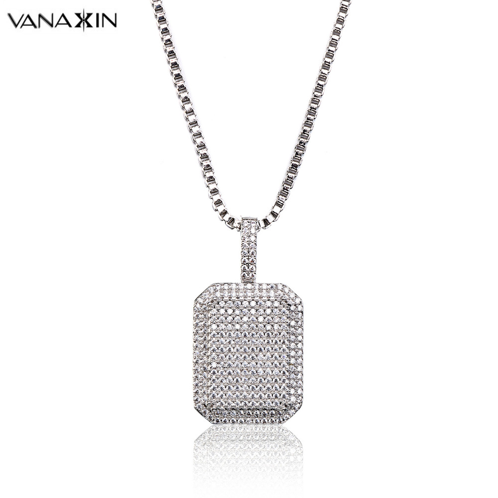 VANAXIN Trendy Female Necklaces Pendants Rectangle Iced Out Hip Hop Punk Small AAA Cubic Zircon Jewelry For Men Women Box Chain цена 2017
