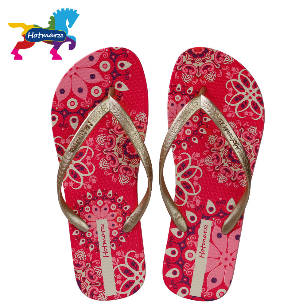 Hotmarzz Women Bohemia Slippers Ladies Floral Flip Flops Summer Fashion Beach Sandals Slides Shoes new summer cheap slippers women fashion flip flops beach platform sandals ladies handmade flowers wedge jelly shoes bohemia