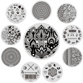 10 Pcs/Set NICOLE DIARY Nail Stamping Template Stainless Steel Flower Design Round Plate Manicure Nail Stamp Image Plate