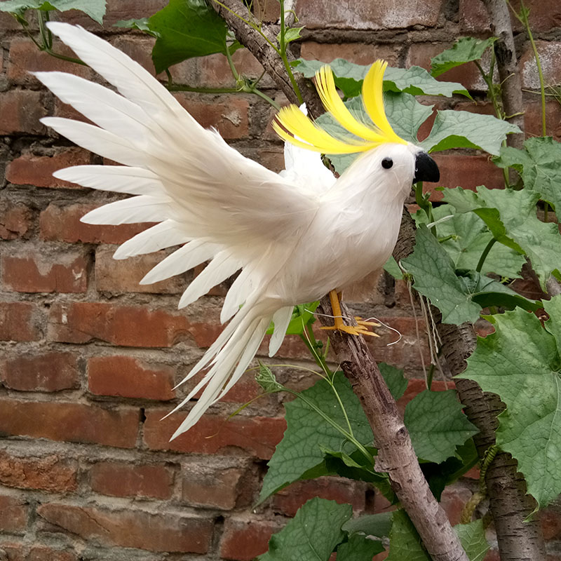 foam&feathers about 20x30cm spreading wings white feathers parrot bird handicraft home garden decoration gift p0207
