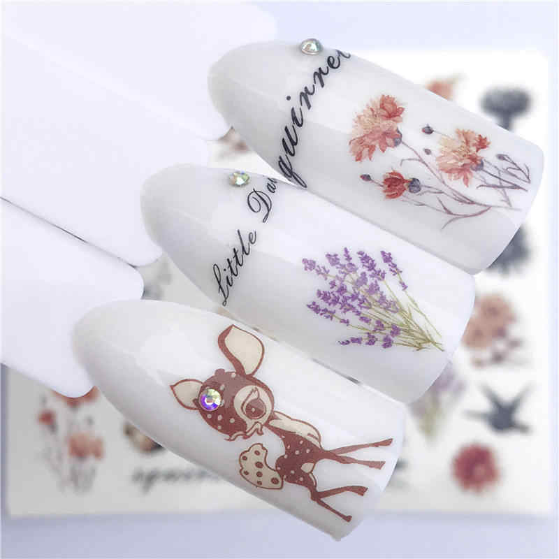 FWC 1 PC Pink Petals / Flowers / Green Leaves Water Transfer Sticker Nail Art Decals DIY Fashion Wraps Tips Manicure Tools