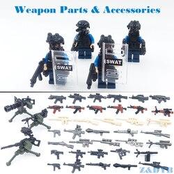 DIY MOC Аксессуары для оружия оружие солдата военный Рисунок Модель Строительный блок кирпич руки WW2 полиции SWAT Legoed игрушка детская