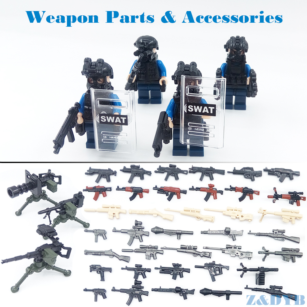 DIY Weapons Accessories Soldier Gun Army Military figure Model Building Block Brick Arms WW2 SWAT Police Legoed Toy For Children