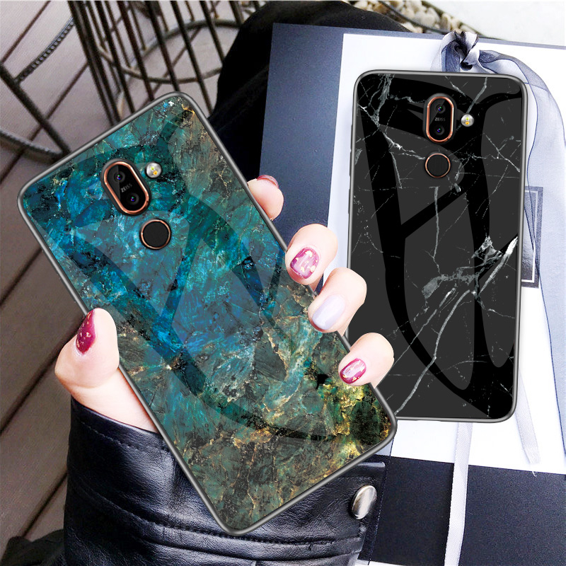 Luxury Marble Tempered Glass Phone Case For <font><b>Nokia</b></font> X6 X7 <font><b>X71</b></font> Hard Case For <font><b>Nokia</b></font> 7.1 7 1 4.2 3.1 Plus Cover Coque Silicone Capa image