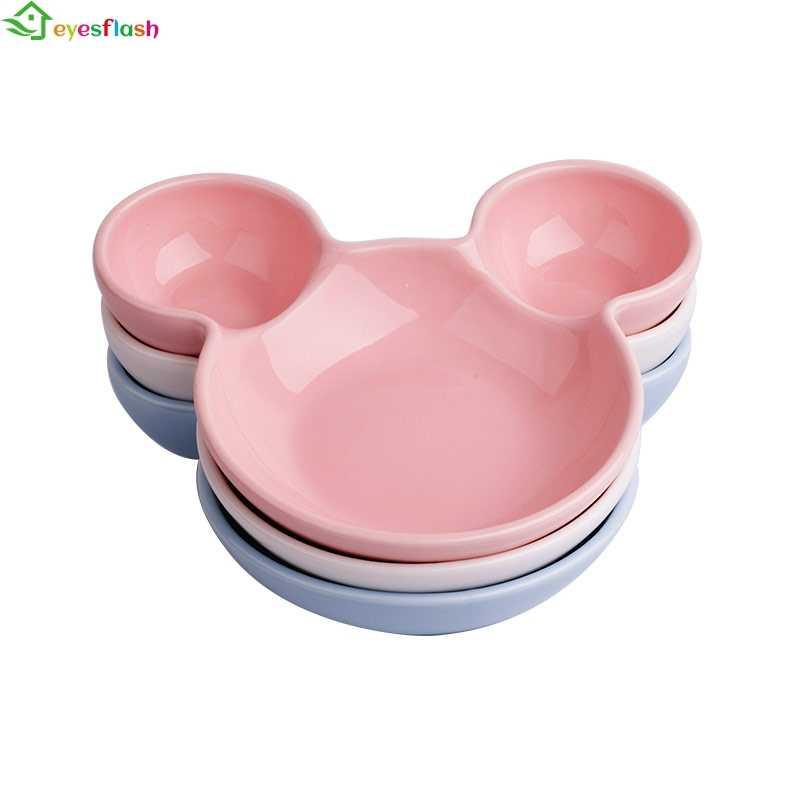 เซรามิค Mickey Mouse สำหรับเด็กทารกเค้กแผ่นพอร์ซเลน Pastry ผลไม้ถาดเซรามิคจานขนมขบเคี้ยว