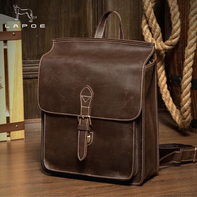 Lapoe Men Women School Bags Handmade Genuine Leathe Backpacks Versatile Business Knapsack Vintage Book Bag Packsack