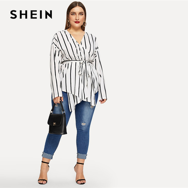 SHEIN White Asymmetrical Plus Size V-neck Belted Striped Blouses Women 2019 Elegant Spring Long Sleeve Highstreet Tops Blouse 4