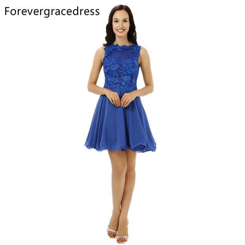 Forevergracedress 2018 A Line Blue Cocktail Dress New Applique Sleeveless Short Evening Party Gown Plus Size Custom Made