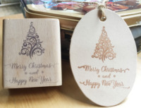 Handmade Merry Christmas Happy New Year 7 6cm Wooden Rubber Stamps For Scrapbooking Carimbo Timbri Christmas