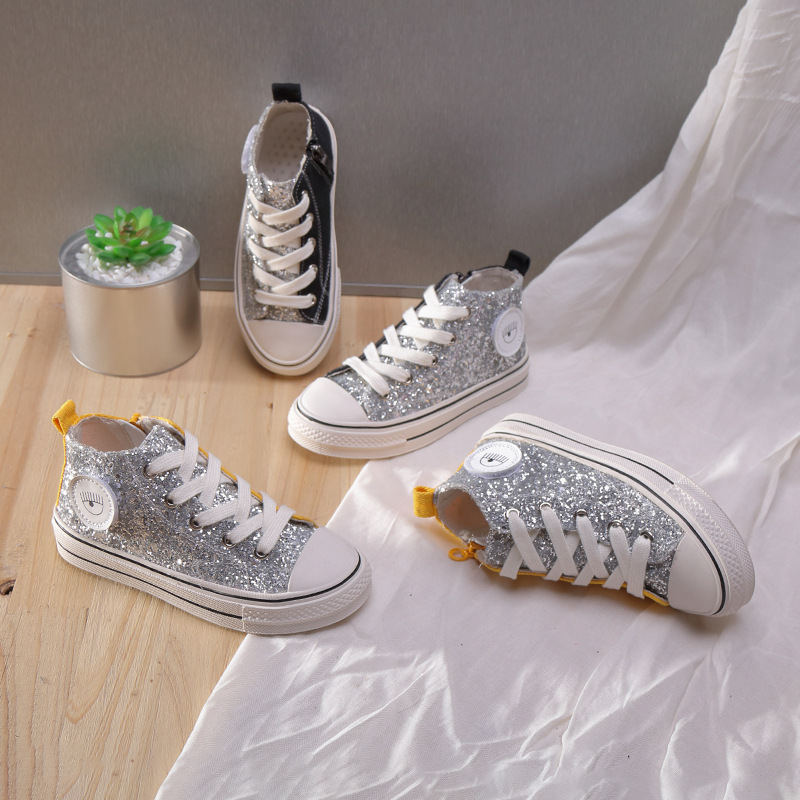 Children Canvas Shoes Girls Kids Shoes Glitter Sneakers 2019 Spring Autumn Shoes Toddler Baby Girl High-top Sports Shoes.