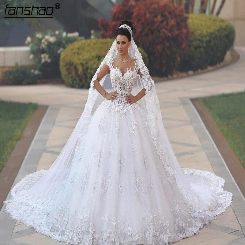 Lace  Muslim Wedding Dresses Vestido De Noiva 2019 Ball Gown Tulle Appliques Pearls Boho Dubai Arabic Wedding Gown Bridal Dress