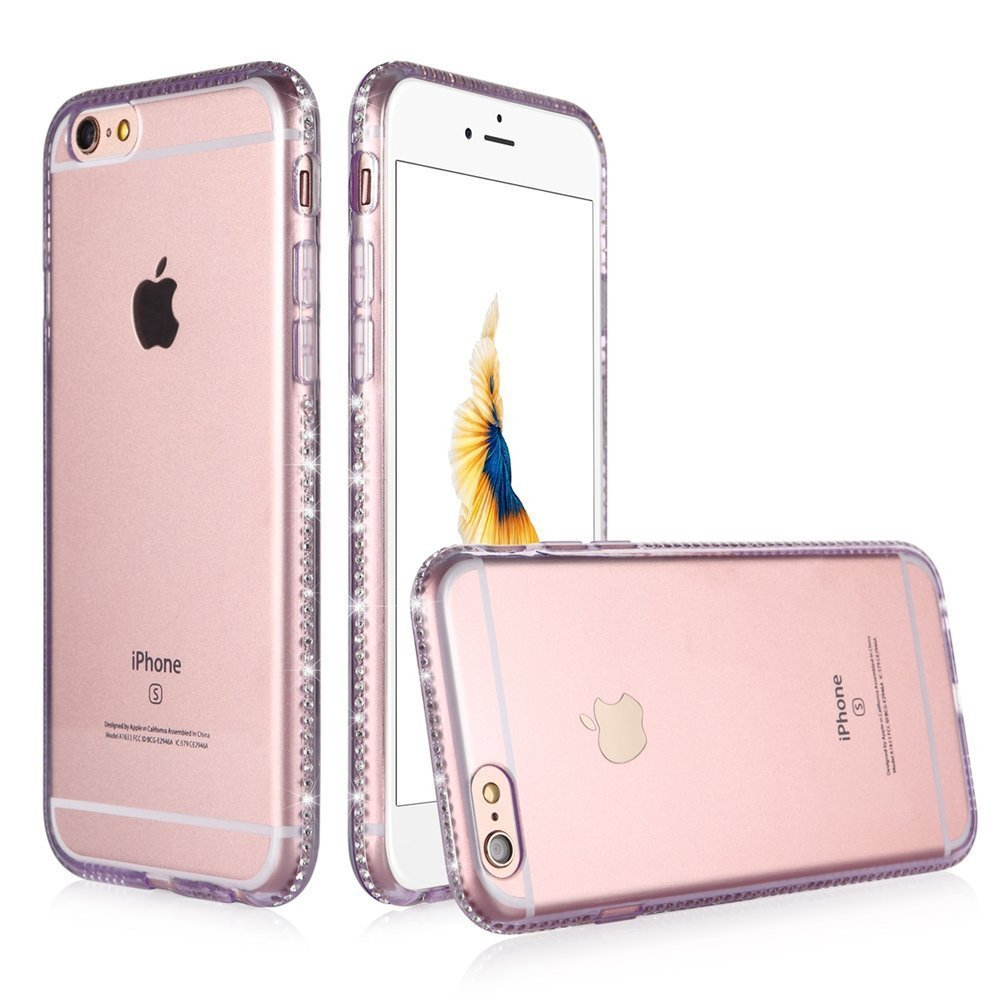 Portefeuille For Coque Iphone 6 S Case Clear Protective Back Cover Bling Diamond Glitter Frame for Iphone 6S 4.7inch Accessories