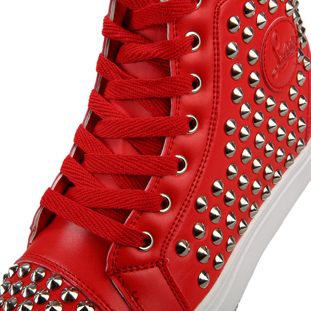 ROEGRE Plus Size 45 Men High Top Casual Rivet Shoes Men Red Lace Up Flats Waterproof Shoes New Fashion Student Trainers White
