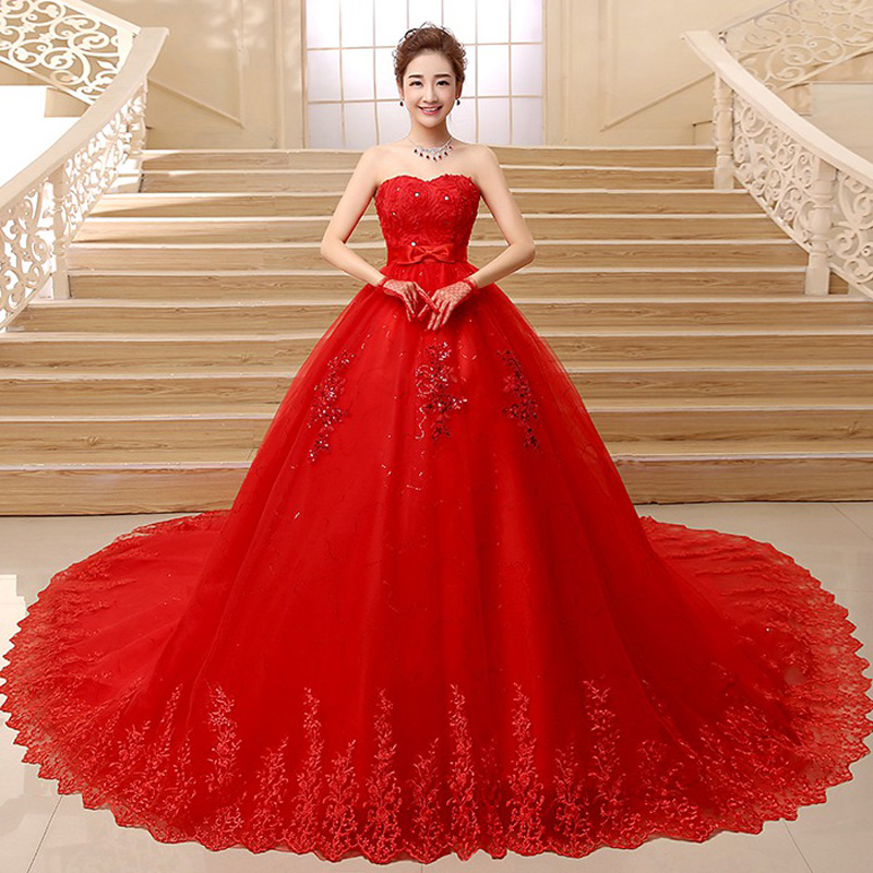 Beautiful Ball Gown Wedding Dresses: Beautiful Vintage Lace Red Ball Gown Wedding Dresses 2018