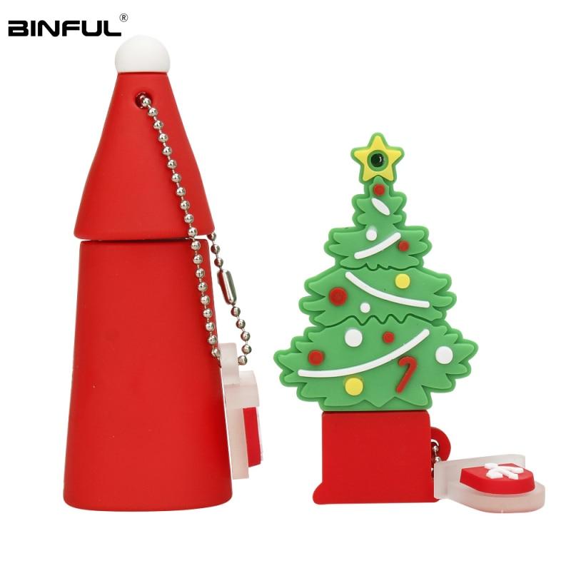 Pen Drive 64GB 128GB Christmas Tree Usb Flash Drive 32GB 16GB 8GB 4GB Cute Snowman Pendrive Usb 2.0 Gift Flash Memory Stick Key-in USB Flash Drives from Computer & Office