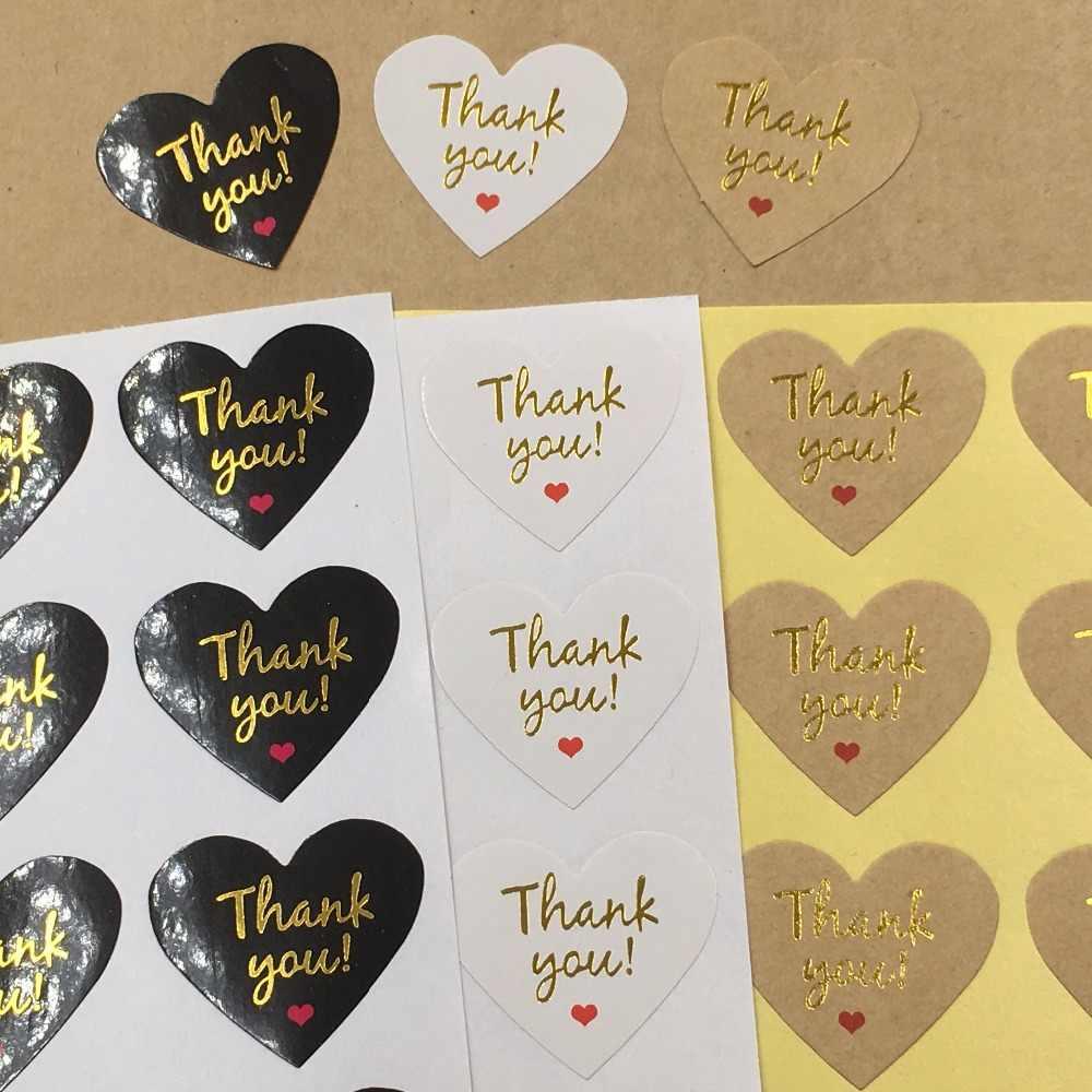 """100 pçs/lote ouro """"Thank You"""" coração Kawaii adesivo adesivos para caseiro padaria & gift & decoração do casamento"""