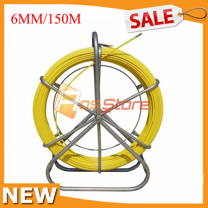 6mm/150M Electric Reel Fiberglass Fish Tape Wire Cable Running Rod ...