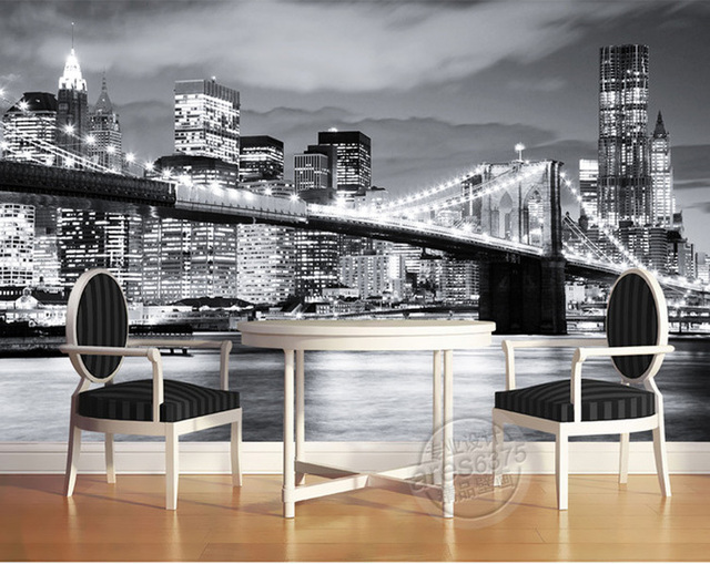 Buy fashion city photo wallpaper brooklyn for Brooklyn bridge black and white wall mural