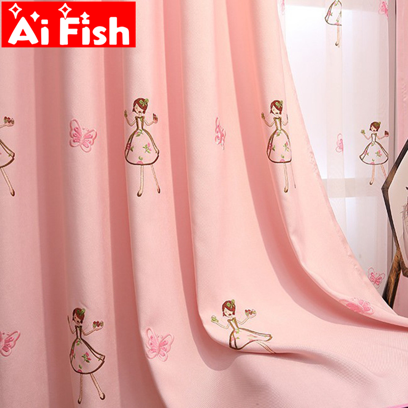 Cartoon Sweet Pink Princess Curtains For Living Room Children