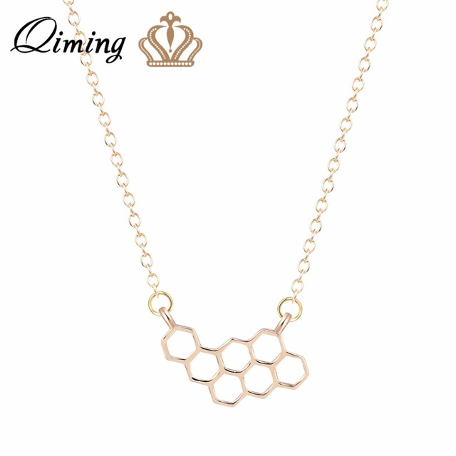 QIMING Cute HoneyComb Beehive Necklace Unique Design Hexagon Pendant Bee Necklace  Gold Fashion Jewelry for Women