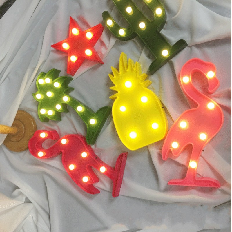 1pcs 3V LED Night Light Flamingo Pineapple Cactus Night Lamp Romantic Table Lamp Marquee Home Christmas Decor Battery Night Lamp