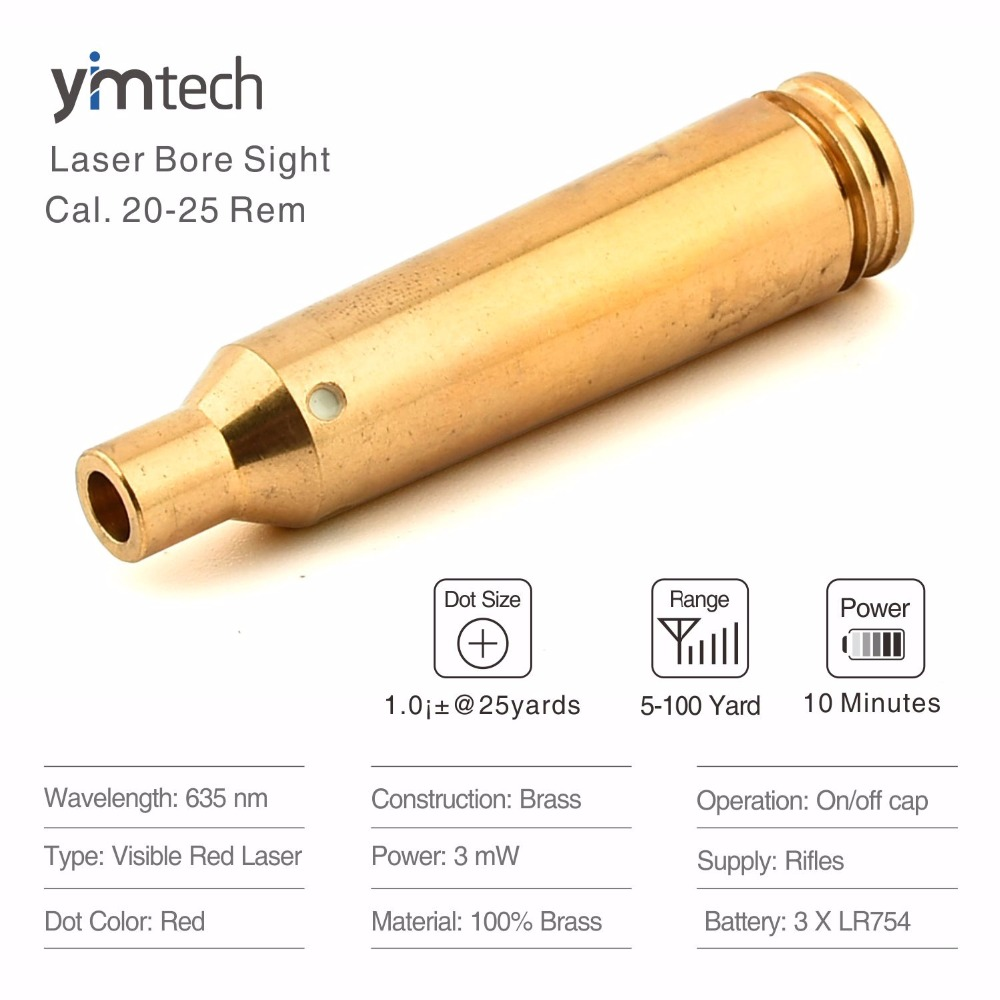 New Red Dot Laser Brass Boresight CAL Cartridge Bore Sighter For Scope Hunting Laser Bore Sight 22 250Rem